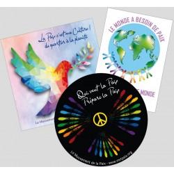 Lot de 3 autocollants pour la culture de paix